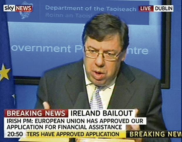 Losing our sovereignty: Brian Cowen appears on TV, confirming his government will seek the bailout loan