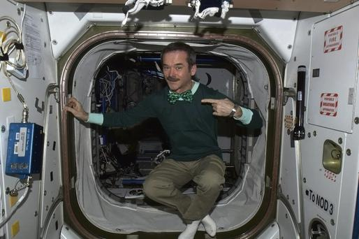 Cmdr Hadfield celebrates St Patrick's Day