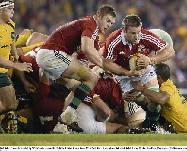 Sean O'Brien in action for the Lions against Australia. Photo: SPORTSFILE