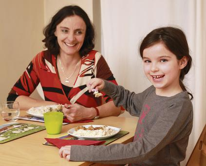 Aideen Sheehan and Layla taste test the Lidl family dinner recipes. Photo by Ronan Lang