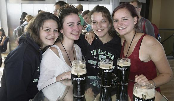French tourists Emeline, Maena, Raphael and Orane at the Gravity Bar in the Guinness Hopstore. Photo: Ronan Lang