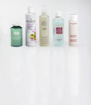 Pictured, from left: Origins Make a Difference Plus+; Boots Botanics Cleansing Toner All Bright; Pure Instant Radiance Skin Tonic; Guinot Refreshing Toning Lotion; Clarins Gentle Exfoliator Brightening Toner