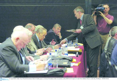 Ballot papers are handed out at the 2005 GAA Congress.