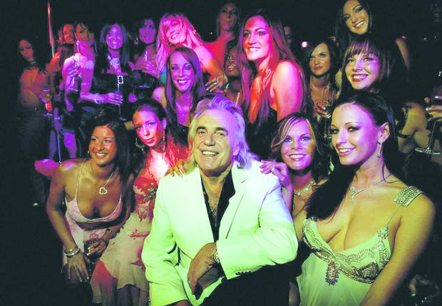 Peter Stringfellow with dancers at Stringfellow's