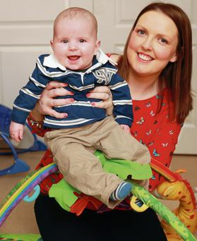 Emma Leahy and her son AJ, six months. Photo by Ronan Lang