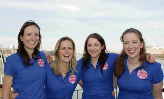 Team Boatylicious, who are rowing from Monterey to Hawaii including Aoife Ní Mhaoileoin (far right)