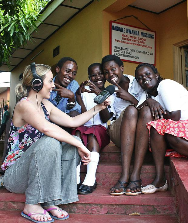 Kathryn Thomas interviews pupils at Oakdale Music School in Rwanda