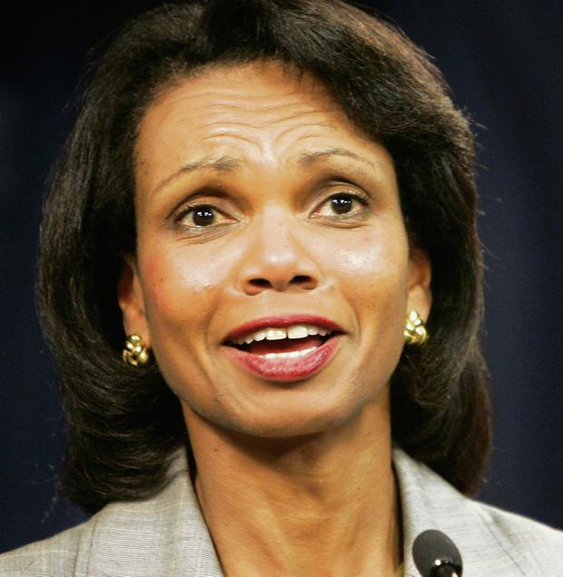 Condoleeza Rice hasn't settled down.