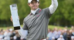 Rory McIlroy celebrates his win at Wentworth last weekend