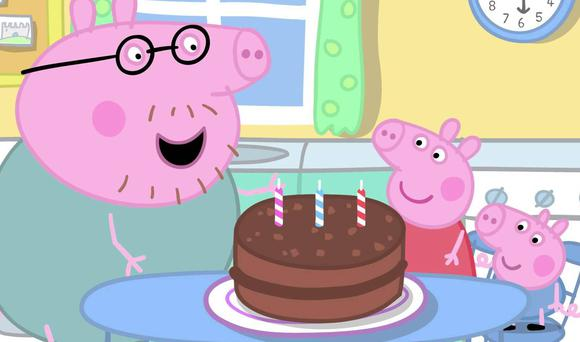 Family fun: Peppa pig (centre) with Daddy Pig and little brother George