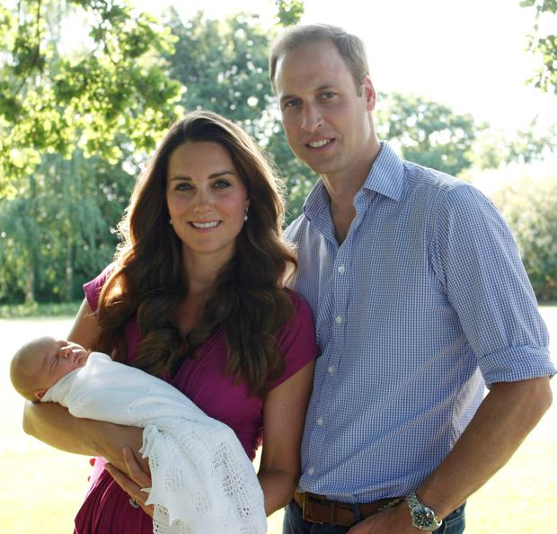 Baby Boom: The Duke and Duchess of Cambridge with their son, Prince George in the garden of the Middleton family home