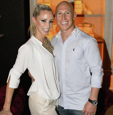 Rugby star Peter Stringer with girlfriend Debbie O'Leary at Nadia Forde's 25th birthday party held at House on Leeson Street. Photo: Richie Stokes