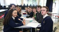 Planning ahead: Students from Stratford College Secondary School, including Katie Webb (left) and Cormac Kelly. Photo: Damien Eagers
