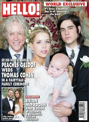 Peaches on the cover of Hello! magazine in 2012 with her dad Bob, and husband Thomas Cohen