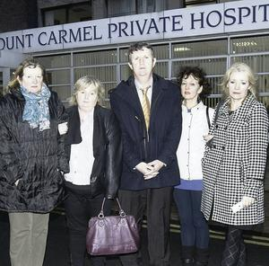 Staff and union representatives after it was announced that Mount Carmel is to close. Gareth Chaney, Collins