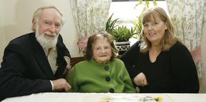 Bridget Allen aged 100 with her son Frank and his wife Ann at home in Knocklong, Co Limerick. Don Moloney