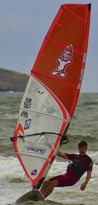 Mikey Clancy pictured wind-surfing