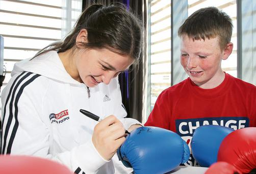Reaching out: Katie Taylor signs a glove for Colm Bracken (13)
