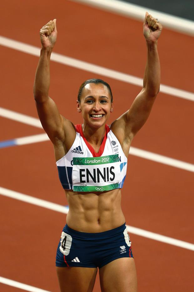 Jessica Ennis of Great Britain celebrates winning gold in the Women's Heptathlon on Day 8 of the London 2012 Olympic Games