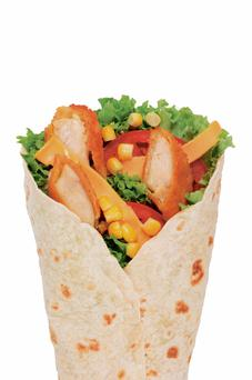 A typical chicken wrap