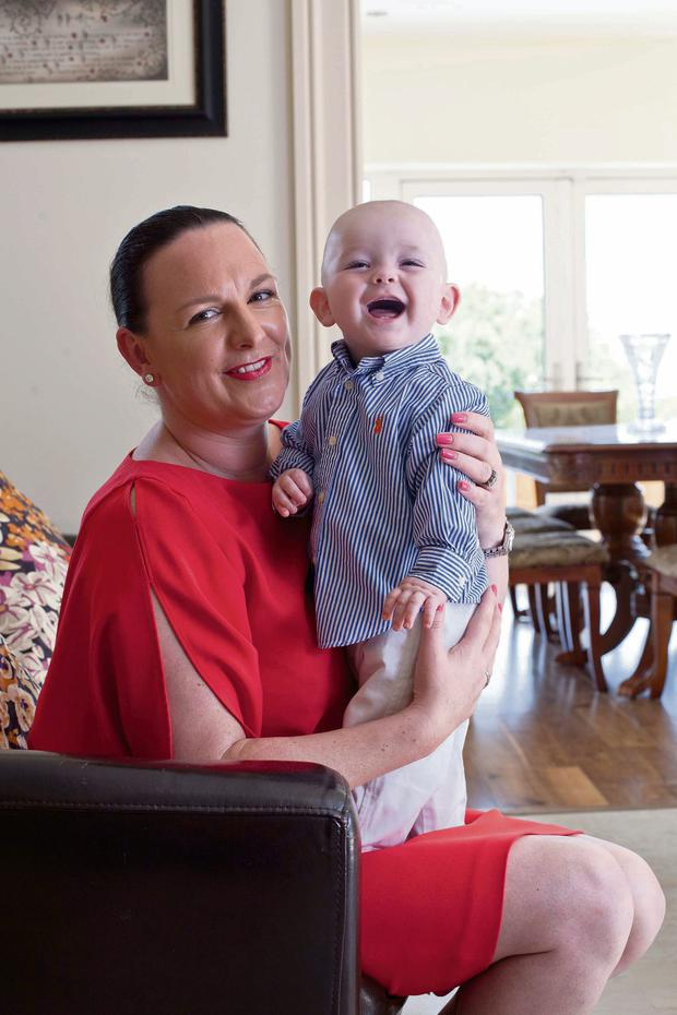Annette Magner, pictured with son Daniel, beat the baby blues after taking placenta capsules