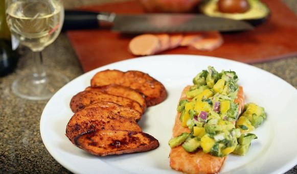 Keep it going: Salmon and sweet potato are good foods to eat after a workout