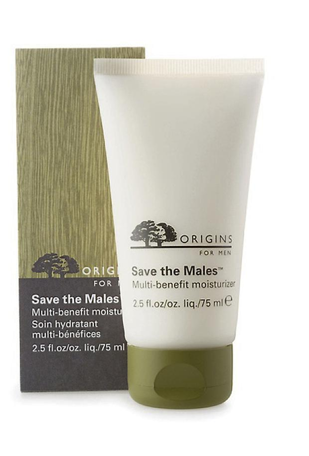 Origins Save The Males Multi-benefit Moisturiser, €39 This wonderfully named cream is packed with oil-controlling avocado extract, as well as a blend of sunflower seeds, barley and cucumber extract which work together to provide a comforting lotion.