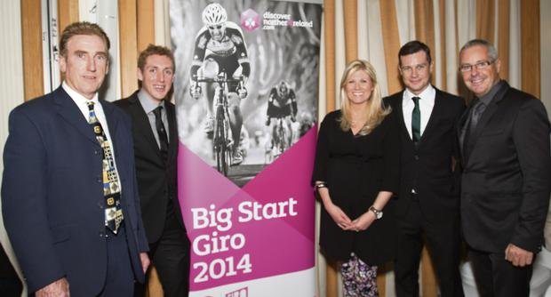 Dan Martin and Nicolas Roche with NITB's Fiona Cunningham at the Cycling Ireland Awards dinner in Dublin. Black Umbrella Photography