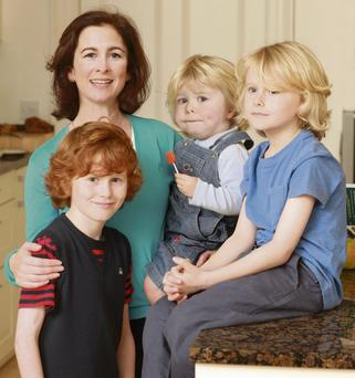 Sarah Carey with David (1), James (10) and Tom (8) pictured at her home in Enfield, Co Meath