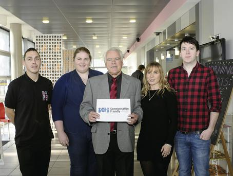 Tommy Nolan (centre) with Sergio Valentini and Dave Reilly of Rua Red, and speech and language therapists Aine Lawlor (left) and Niamh Barratt. DAVE MEEHAN