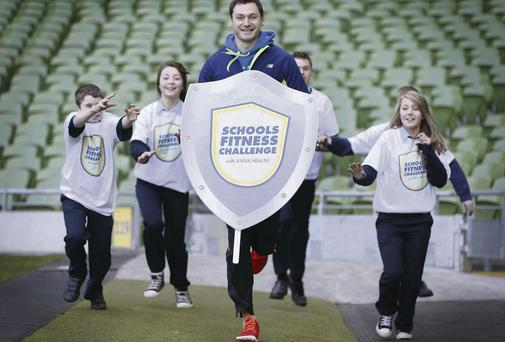 International athlete David Gillick launching the 2014 Aviva Health Schools' Fitness Challenge with students from Oaklands Community College, Offaly, last year's winners