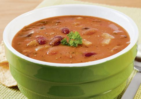 Tomatoey three-bean soup
