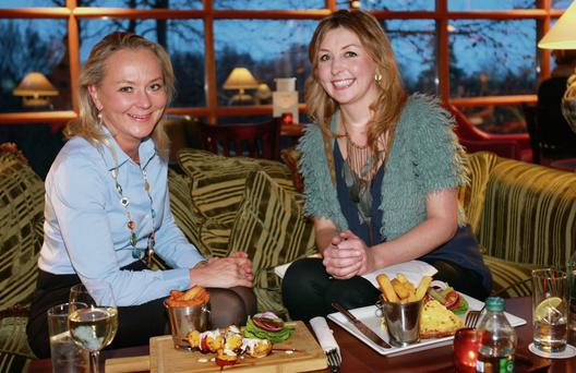 Healthy options: Dr Eva and Edel Coffey at lunch in the Druid's Glen resort in Wicklow. Photo: Ronan Lang
