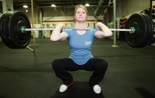 Diddly squat: Lorraine Morrison in action at her Crossfit gym.