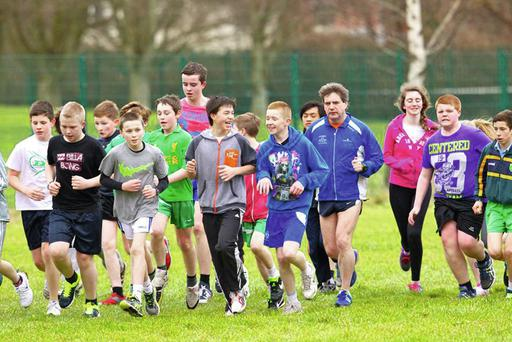 Marcus Howlett on a lunchtime run in Tralee with students from Ghaelcholáiste Chiarraí.