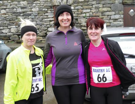 Ursula Smith, Cora Regan and Patricia Murray pictured at the Mealagh Valley Ring 10-mile and 5km.