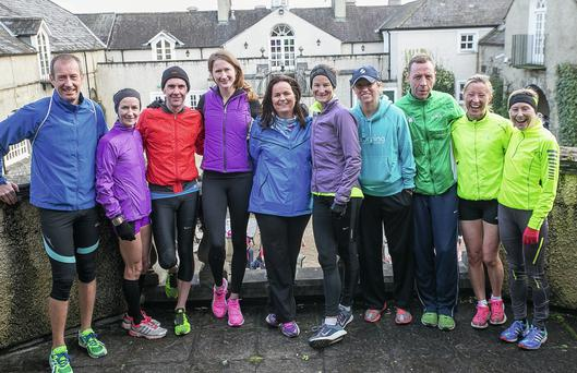 Joanne Cuddihy, Sonia O'Sullivan and Run Mount Juliet organiser Caroline Walsh (centre), with Nial Shiels (third from left) and Emma Murphy (fourth from right), respective winners of the men's and women's section, as well as runners up (L-R) Pat Byrne, Pauline Curley, Des Kennedy, Martina O'Dwyer and Val Gunner. Pat Moore