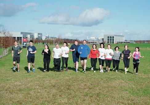 Unilever running club training at in Citywest. Twenty staff members are due to take part in the Fit City Series run in the Phoenix Park on March 9. El Keegan
