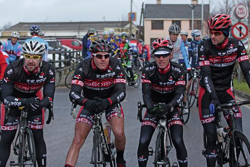 The Edge team, featuring Richard Hooton, second from left, model their new kit at the start of the Lacey Cup race in Tralee, Co Kerry.