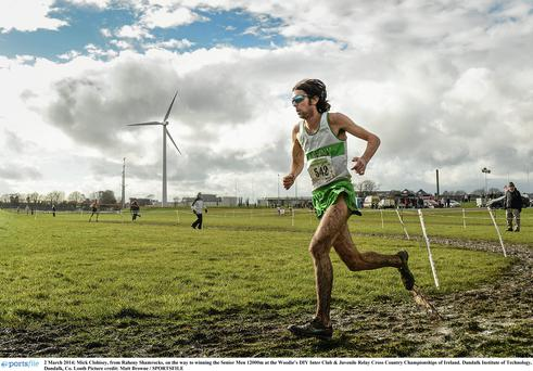 Mick Clohisey on his way to winning the senior men's 12,000m in Dundalk, Co Louth. Photo: Matt Browne, Sportsfile.