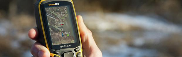 The GPSMAP 64 can be used on outdoor trails or finding a railway station