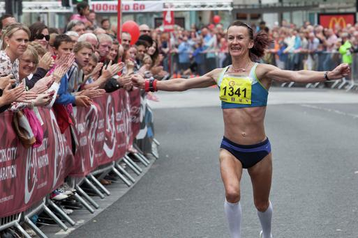 Pauline Curley on her way to victory - the Cork City Marathon has four events including full and half and two relay races.