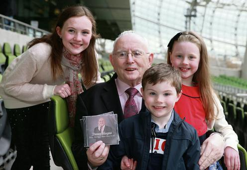 Jimmy with grandchildren Sarah (left) (11) Paul (5) and Sinead (8) for the launch of Jimmy's single 'These Old Eyes Have Seen It All' in aid of the Irish Motor Neurone Disease Association, at the Aviva Stadium, Dublin. Arthur Carron
