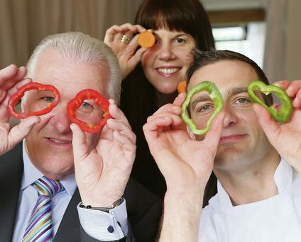 Pictured at the campaign launch were: Ronan Collins, Andrew Rudd and Sinead Hanley, a dietician with Diabetes Ireland.