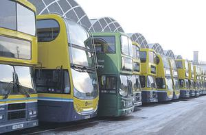 Buses remain in Donnybrook Garage, Dublin yesterday after the service was cancelled