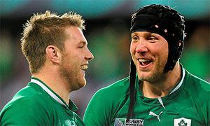 Sean O'Brien, left , and Stephen Ferris together in the Irish team