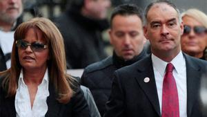 Former Scottish Socialist Party leader Tommy Sheridan (right) arrives with his wife Gail for sentencing at the High Court in Glasgow. Photo: Reuters