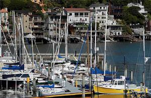 ailboats are seen docked at the San Francisco Yacht Club in Belvedere, California April 16, 2012. One sailor died and four were missing after powerful waves battered a sailboat during a yacht race and tossed it into rocks around islands off San Francisco, officials said on Sunday.