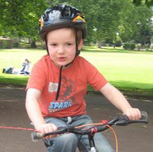 Charlie Simpson, from Fulham, cycled around South Park  in London to raise funds for Haiti