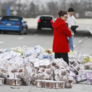 More than 40,000lbs of ice cream spilled from a lorry (AP Photo)